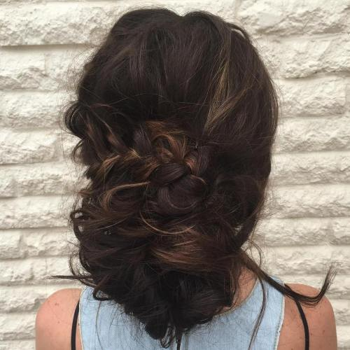 Big Bun With A Braid Updo For Long Hair