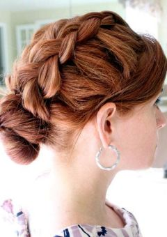 braid and bun updo for long hair
