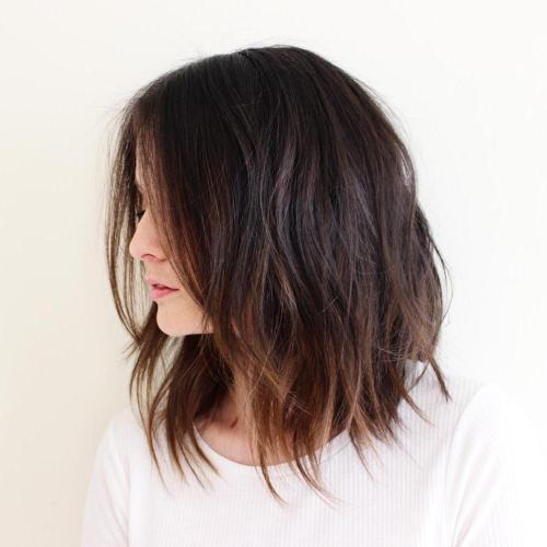 long messy brown bob with balayage