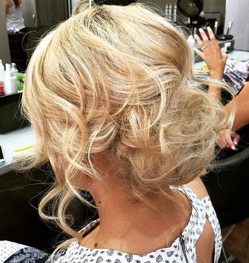 Messy Blonde Bun Updo