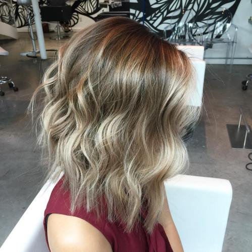 long layered brown blonde balayage bob