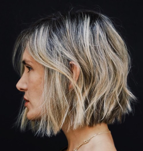 Short Messy Bronde Bob With Black Roots