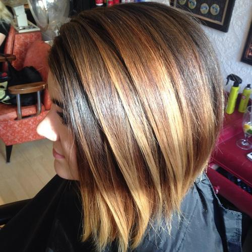 choppy brown bob with dimensional highlights