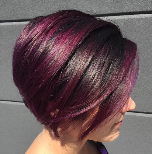 stacked violet red balayage bob