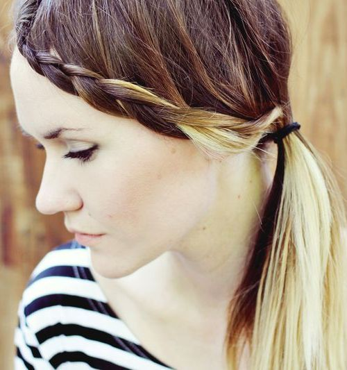 easy side braid and pony hairstyle