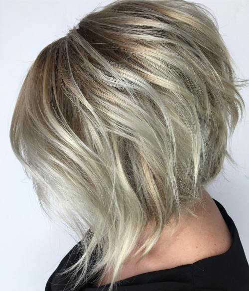 Blonde Angled Razored Bob Cut