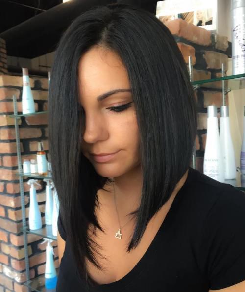 Black Asymmetrical Lob For Straight Hair