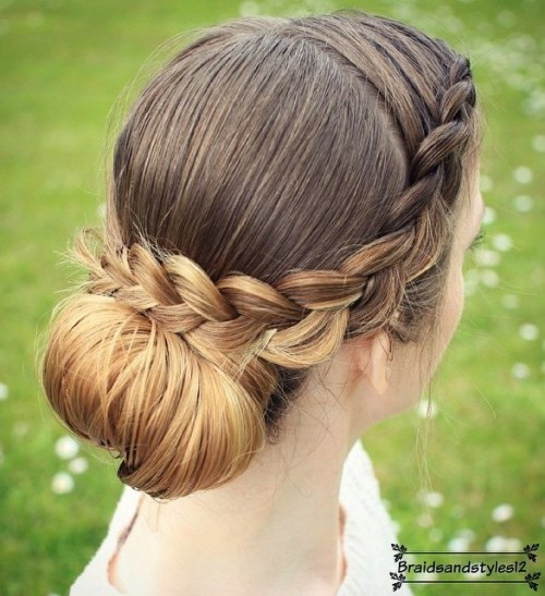 Crown Braid And Low Bun