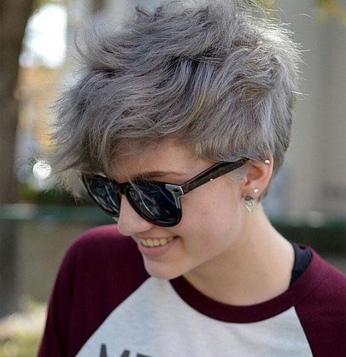 gray wavy pixie