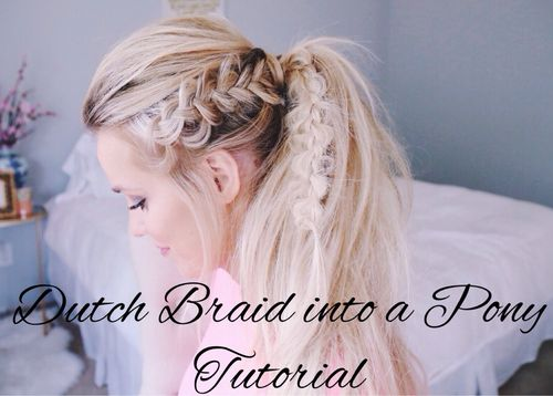 messy blonde pony with side dutch braid