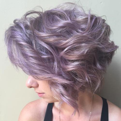 Short Curly Purple Bob