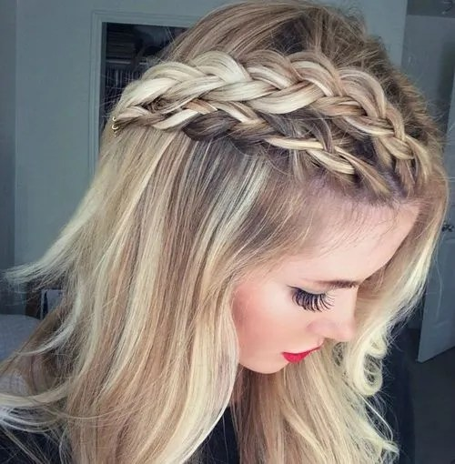 easy downdo with double French braid