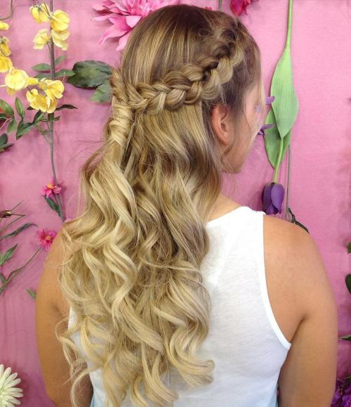Curly Braided Half Updo For Long Hair