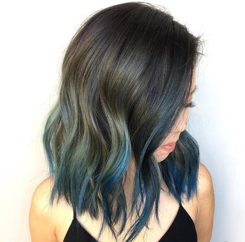 long black choppy bob with blue balayage