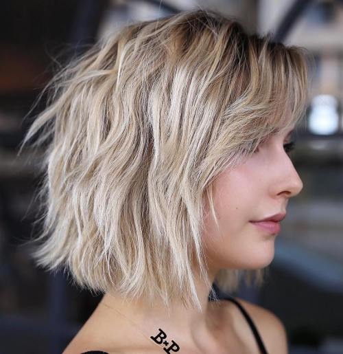 Messy Wavy Choppy Blonde Bob