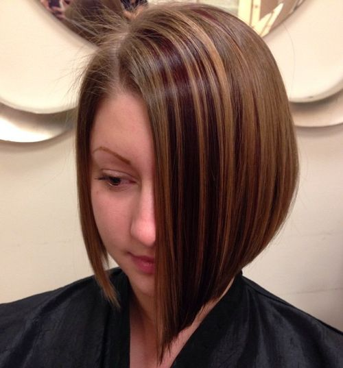 asymmetrical bob with balayage highlights