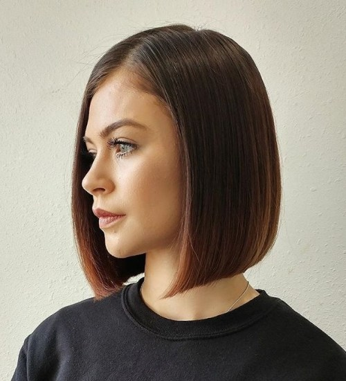 Blunt Side-Parted Medium-Length Bob