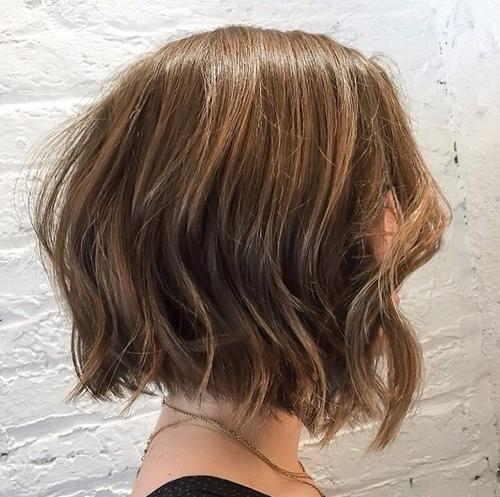 Textured wavy bob haircut