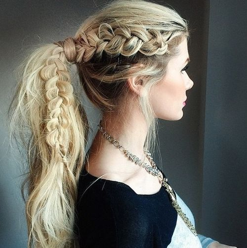 messy pony with a lacy side braid