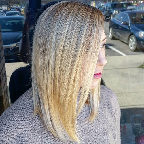Straight Blonde Lob Hairstyle
