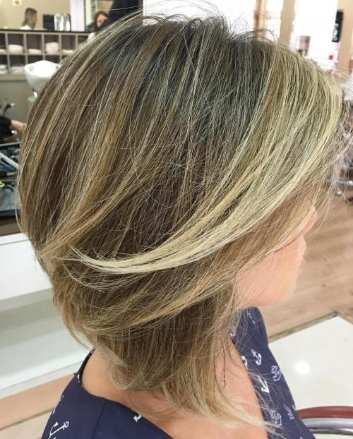 Brown Blonde Angled Layered Bob