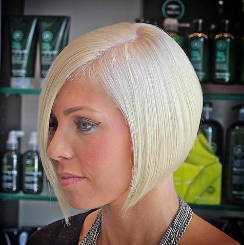 platinum asymmetrical short bob for fine hair