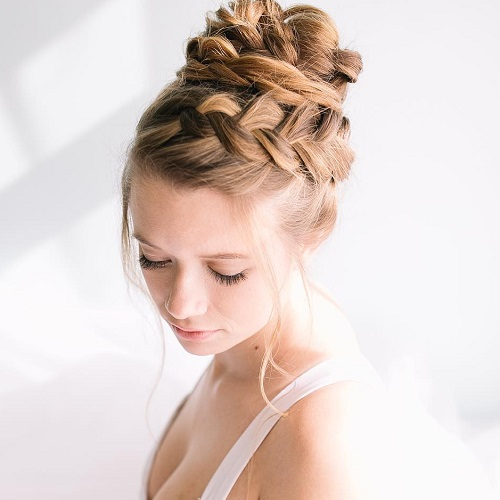 Double Braided Bun Updo