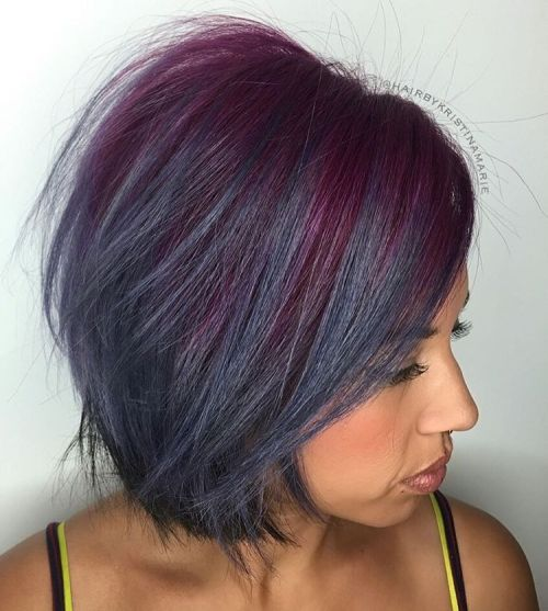 Messy Purple And Blue Bob