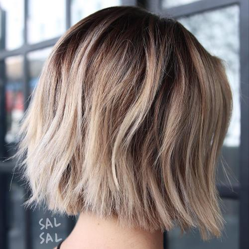 Ash Blonde Choppy Straight Cut Bob