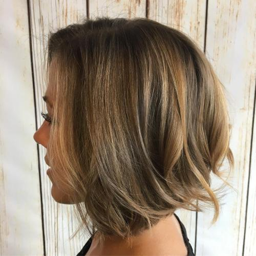 Brown Textured Bob With Honey Highlights