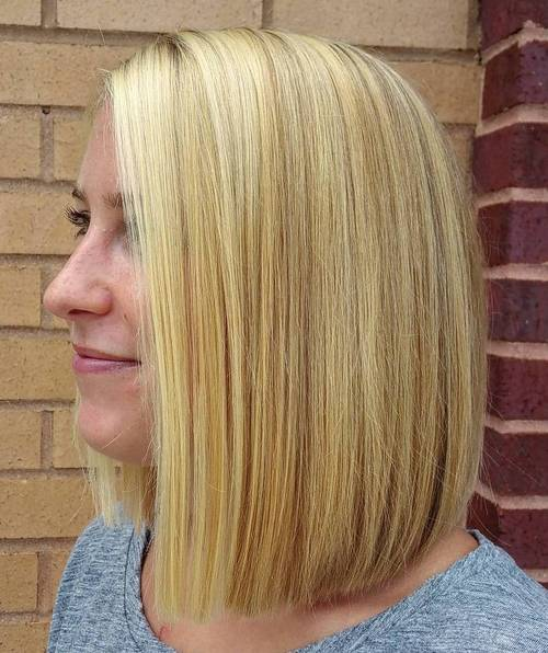 long blonde blunt bob with highlights and lowlights