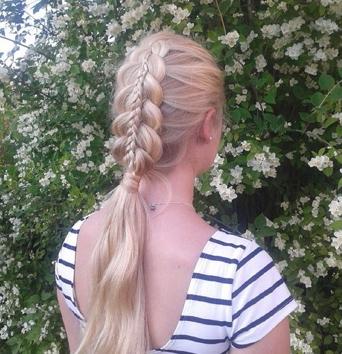 double braid and pony blonde hairstyle