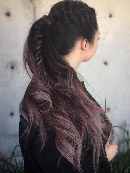 Ponytail With A Braid For Ombre Hair