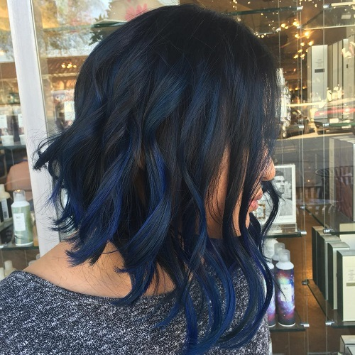 Long Angled Black Bob With Blue Highlights