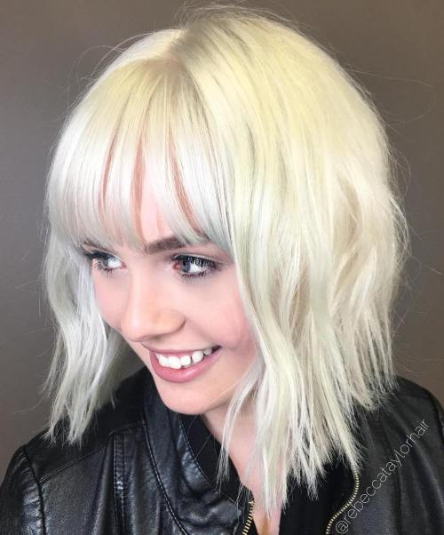 Platinum Choppy Bob With Straight Bangs