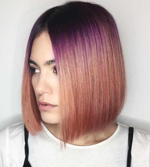 Blunt Caramel Bob With Purple Root Fade