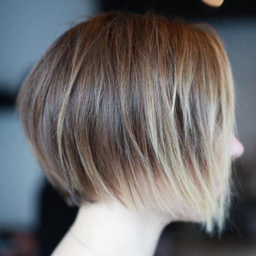 Layered Brown Bob With Blonde Balayage