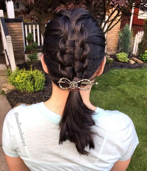 macrame braid with a low pony