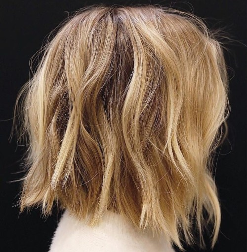 Messy Caramel Blonde Bob