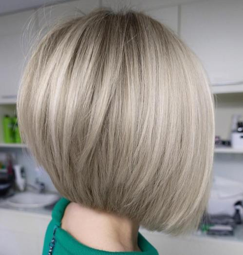 Straight Inverted Gray Blonde Bob
