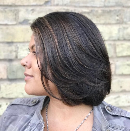 Brunette Layered Bob For Thick Hair