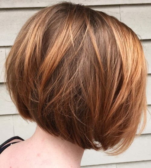 Inverted Caramel Brown Bob
