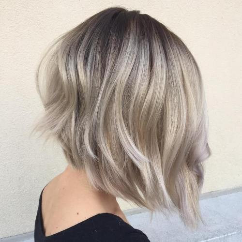 Angled Layered Silver Blonde Bob