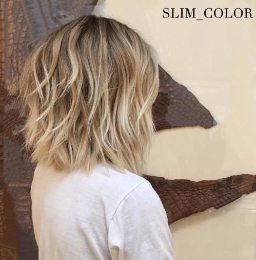 Medium Choppy Bob Haircut With Blonde Balayage