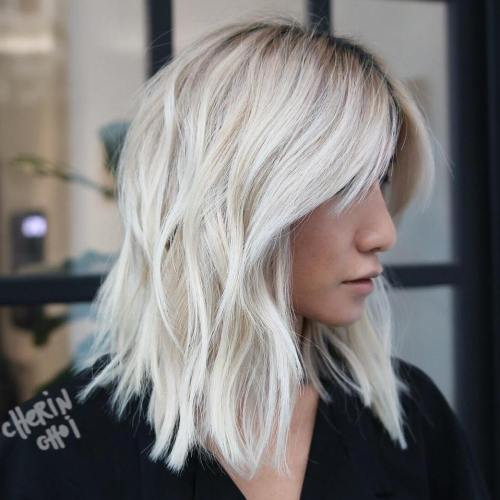 Platinum Blonde Choppy Lob