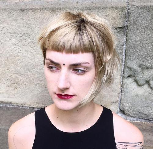 short asymmetrical bob with cropped bangs