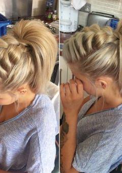 voluminous front braid and high ponytail