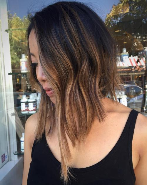Black To Brown Balayage Asymmetrical Bob