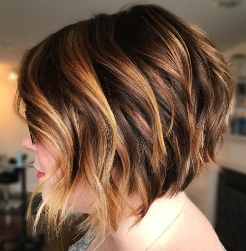 Caramel Brown Layered Bob