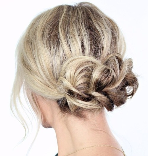 Low Braided Updo For Shorter Hair